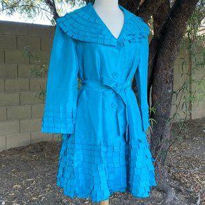 Turquoise Shiny Taffeta Dress Coat Belt Formal